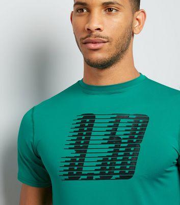 Petrol Blue Graphic Print Sports T-Shirt New Look