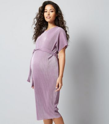 Maternity Lilac Pleated Tie Waist Midi Dress New Look
