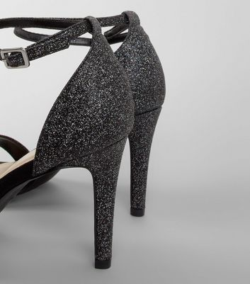 Wide Fit Black Glitter Heeled Sandals New Look