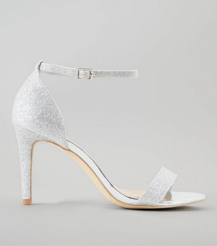 popular stores quality design purchase genuine Wide Fit Silver Glitter Ankle Strap Heels Add to Saved Items Remove from  Saved Items