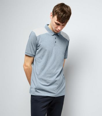 Pale Grey Shoulder Patch Polo Shirt New Look