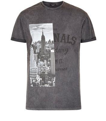 Grey Acid Wash Spliced Print T-Shirt New Look