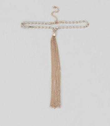 Rose Gold Diamante Tassel Drop Choker New Look