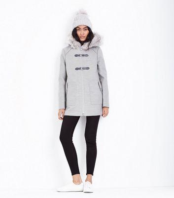 Pale Grey Faux Fur Trim Duffle Coat New Look