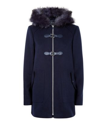 Navy Faux Fur Trim Duffle Coat New Look