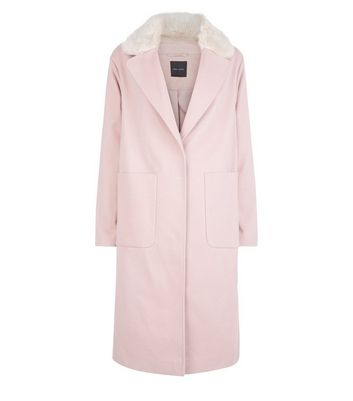 Shell Pink Faux Fur Collar Longline Coat New Look