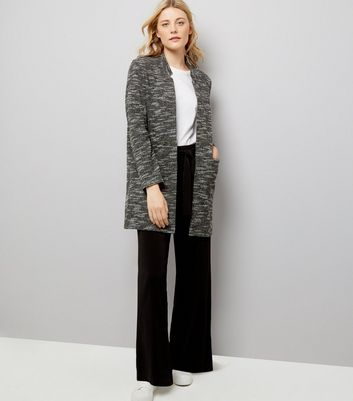 Charcoal Brushed Jersey Longline Jacket New Look