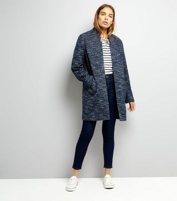 Navy Brushed Jersey Longline Jacket New Look