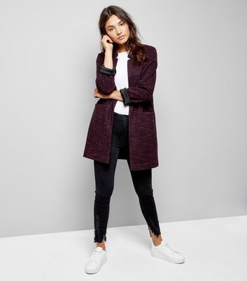 Burgundy Brushed Jersey Longline Jacket New Look