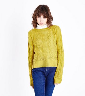Lime Green Cable Knit Jumper New Look