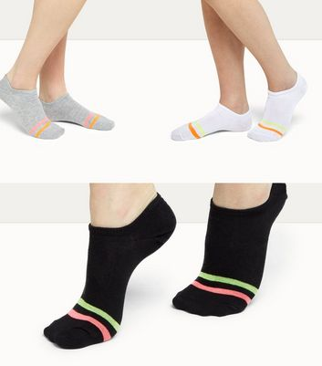 3 Pack Black Neon Trim Pop Socks New Look