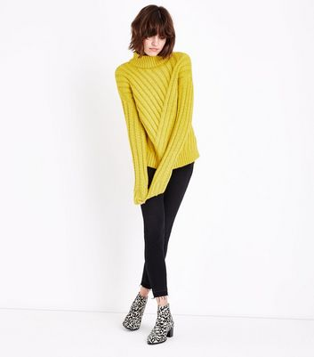 Green Funnel Neck Step Hem Ribbed Jumper New Look