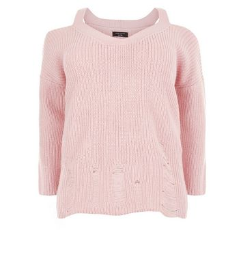 Curves Pink Cold Shoulder Ladder Knit Jumper New Look