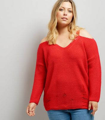 Curves Red Cold Shoulder Ladder Trim Jumper New Look