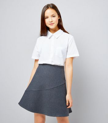 Teens Grey Knitted Skater Skirt New Look