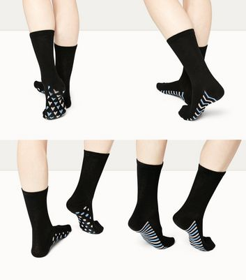 4 Pack Black Patterned Sole Socks New Look