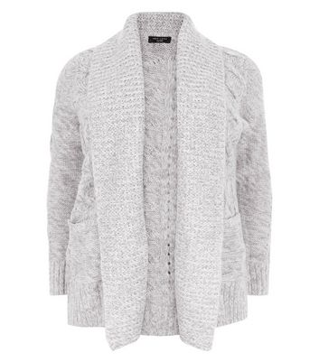 Curves Grey Cable Knit Cardigan New Look