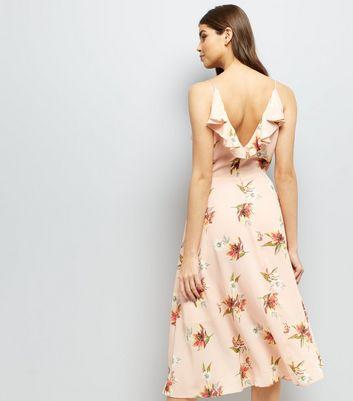 Shell Pink Floral Print Frill Trim Front Midi Dress New Look