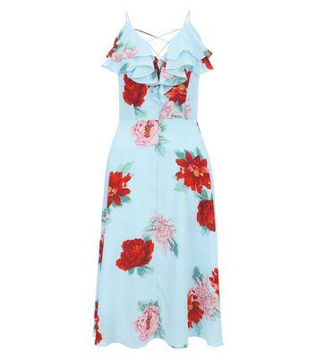 Blue Floral Print Frill Trim Midi Dress New Look