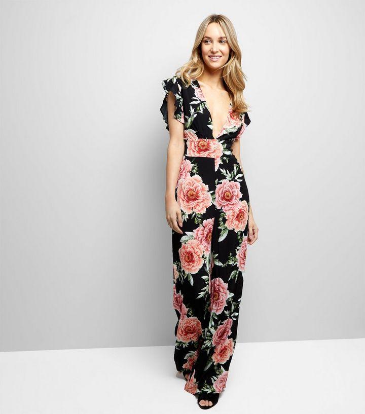 2764ef7de7c Black Floral Print V Neck Jumpsuit