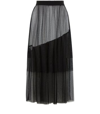 Black Frill Trim Mesh Midi Skirt New Look