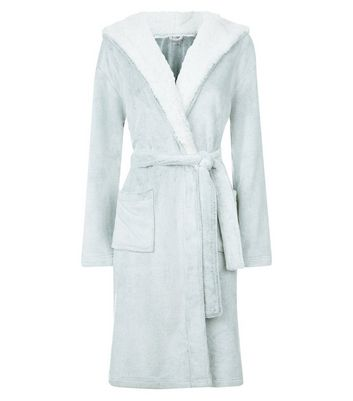 Pale Grey Borg Robe New Look