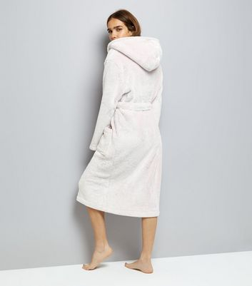 Pink Hooded Borg Robe New Look