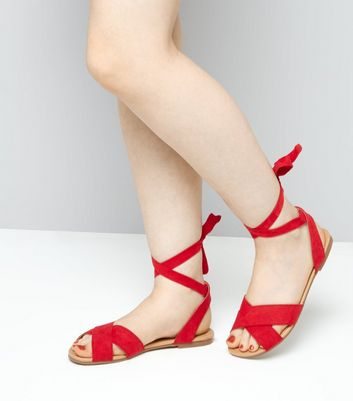 Teens Red Suedette Ankle Tie Sandals New Look