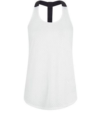 White Mesh Contrast Racer Back Sports Vest New Look