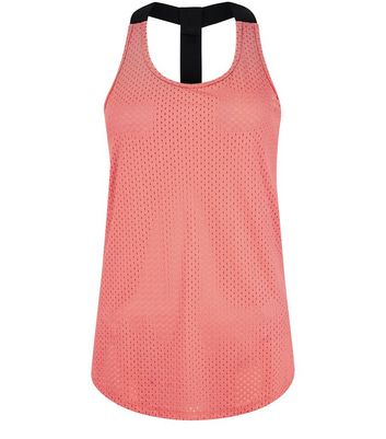 Coral Mesh Contrast Racer Back Sports Vest New Look