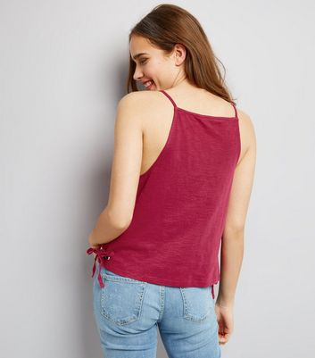 Pink Eyelet Lace Up Side Vest New Look