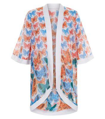 Mela White Butterfly Print Kimono New Look