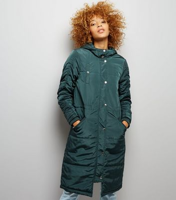 Noisy May Dark Green Longline Parka New Look