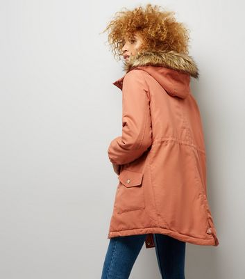 Noisy May Rust Padded Parka Jacket New Look
