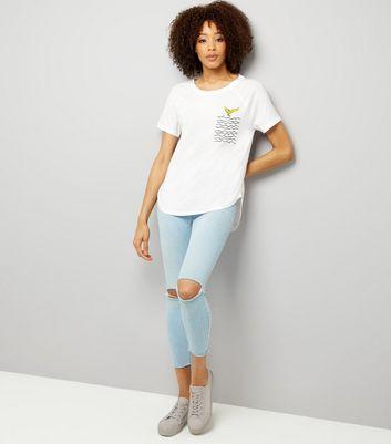 Noisy May White Mermaid Pocket T-Shirt New Look