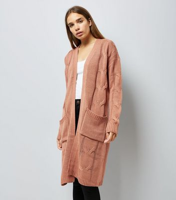 Noisy May Pink Cable Knit Longline Cardigan New Look