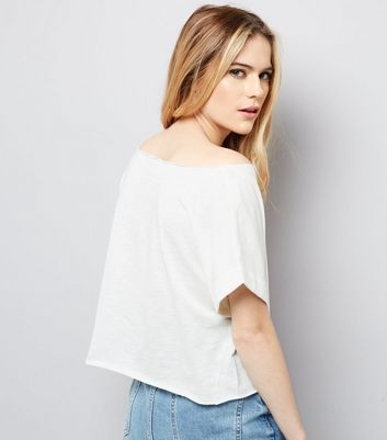 White Rolled Sleeve Crop Top New Look