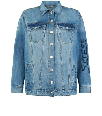 Noisy May Blue Patchwork Stud Trim Denim Jacket New Look