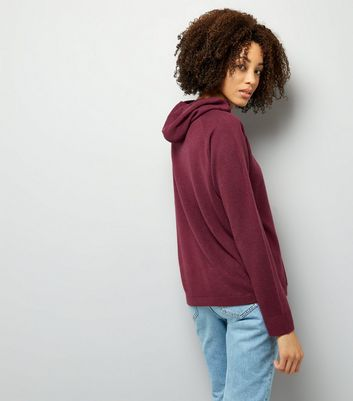 Noisy May Dark Red Knitted Hoodie New Look