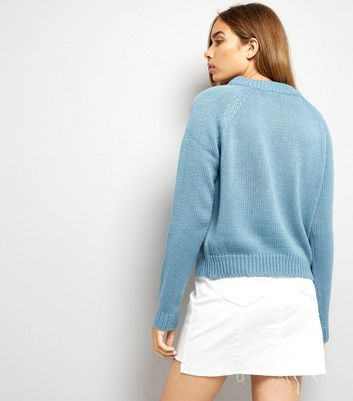 Noisy May Blue Cable Knit Crew Neck Jumper New Look