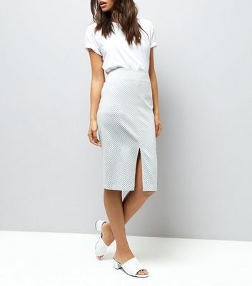White Gingham Bengaline Pencil Midi Skirt New Look