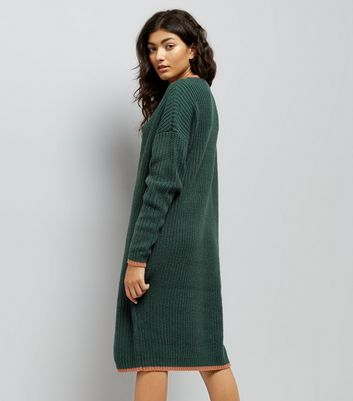 Noisy May Khaki Contrast Trim Midi Jumper Dress New Look