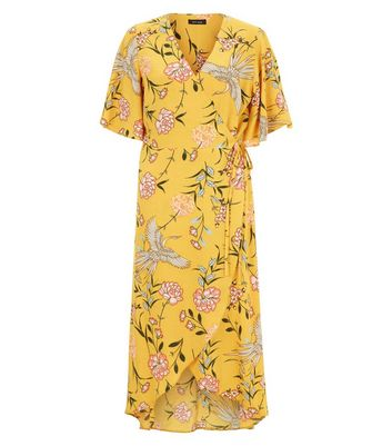 Yellow Floral Print Wrap Front Midi Dress New Look