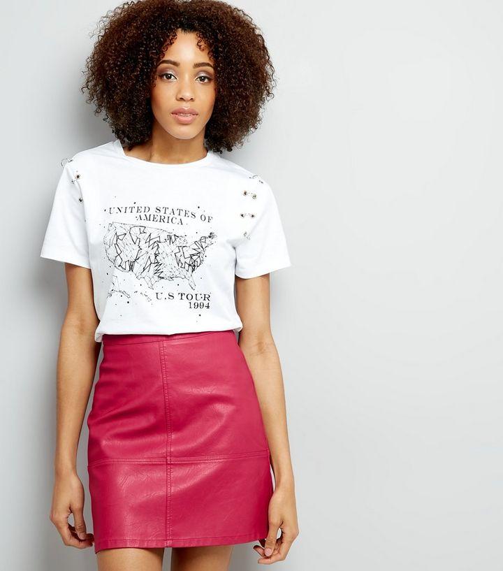 aa9e20ddbb Tall Bright Pink Leather-Look Mini Skirt | New Look