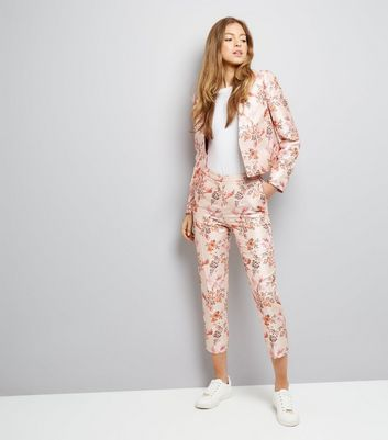 Pink Satin Floral Bird Jacquard Jacket New Look