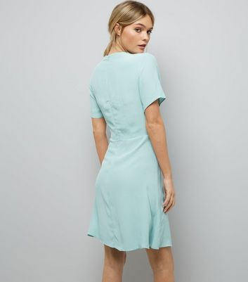 Mint Green Tie Front Skater Dress New Look