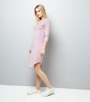 Lilac 3/4 Sleeve Curved Hem Dress New Look