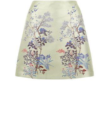 Mint Green Sateen Floral Jacquard Skirt New Look