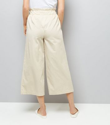 Stone Tie Waist Cropped Trousers New Look
