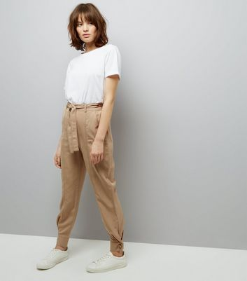 Brown Tie Waist Cuffed Hem Trousers New Look